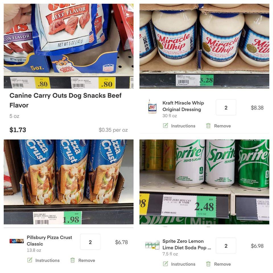 Supermarket Insta vs store price